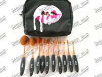 Wholesale Factory Direct DHL New Makeup Brushes Rose Gold Oval Kylie Pieces Brush With Cosmetic Bag
