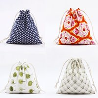 Bonne qualité 14 * 16cm Fashion Beautiful Jute Canvas Drawstring Bags Wedding Mini Muslin Cotton Gift Sack