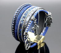 Wholesale 2017 Europe and the United States multilayer personality rivets hot diamond bracelet braided tassels bracelets bracelets