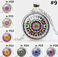 arts amulets - 2016 Mandala Pendant Necklace Christmas Gifts Mandala Art Necklace Zen Pendant charms Glass cabochon Necklace Yoga Jewelry Lucky Amulet