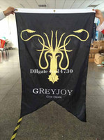 90*150 cm banner eyelets - Game Of Thrones Winter Comes greyjoy flag X5FT with eyelets digital print banner
