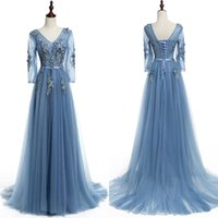 Wholesale New Real Pictures Blue Lace up Sheer V Neck Evening Dresses Pearls Court Train Applique A Line Custom Made Simple Long Prom Gown Red Carpet