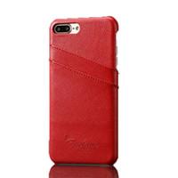 Para el iPhone 7 7plus Cell Phone Case Ranuras para tarjetas Litchi Grain cuero genuino cubierta trasera Shell