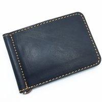 Clips de bolsas España-GUGLE Clásico azul de la marca de fábrica de los hombres famosos de la marca de fábrica del diseño de la tarjeta del clip Clips Hiqh de la calidad de cuero genuino Bolso ultra delgado de la carpeta de la carpeta