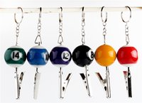 ball numbers - Billiard Ball Smoking Pipe Portable Keychain Crocodile Clip Zinc Snooker Table Ball Key Ring Pendant Holder Mixed Color Number Mini