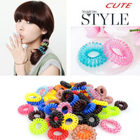 Wholesale New Hot Candy Colored Telephone Line Elastic Hair Bands Hair ties Hair ring hair wear Hair Accessories Pony Tails Holder