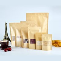 bags with window - 100 Stand up Kraft Paper Food Gift Bags With Frosted Window Zipper Closure Shopping Bag Pouch for Snack Cookies Candy