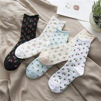 Wholesale 5 colors Floral hemming loose socks Fresh garden style socks for women maternity