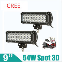 Wholesale 54W cree LED Work Lamp Bar Waterproof Flood Spot Combo Beam Offroad Boat Car Motorcycle and car headlight Night Driving Lighting