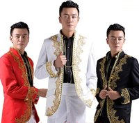 al por mayor boda del novio traje chino-Venta al por mayor-nuevo chino traje de novia novio trajes oro bordado applique hombres blancos hombres traje trajes para los hombres de la boda trajes de oro