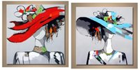 More Panel beauty picture frames - 2PCS Beauty Girl Picture with Hat Hand Painted Contemporary Abstract Wall Decor Art Oil Painting Multi customized sizes Framed Available