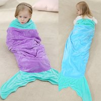 Cheap Foreign trade children 's new mermaid tail sleeping bag baby sleeping nightgown two - story cotton pajamas wholesale