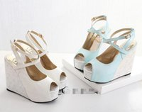ballet types - New types white wedge heel bride wedding shoes blue peep toe high heel platform bridesmaid shoes colors size