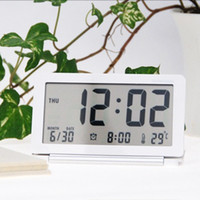 Wholesale hot Ultra thin travel digital table clock Slim LCD Alarm Clock mute folding portable fashion electronic Thermometer