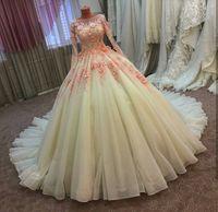Wholesale 2017 Elegant Custom Made White Ball Gown Wedding Dresses Handmade Flowers with Beaded Floor Length Formal Arabic Dubai Style Bridal Gowns