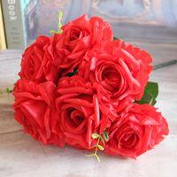 Wedding big red rose bouquet - Fresh Artificial Head Big Silk Cream Rose Crimping Petal Floral Decorative Bridal Bouquet Party Decor