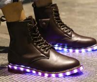 Martin bottes amateurs avec des chaussures incandescentes fluorescent USB chargeant coloré lumières led step danse chaussures minuit fantôme lumière chaussures