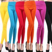 big capri pants - 2016 fashion Sexy Super elastic Solid Candy colors Women Leggings Ladies Female Plus Big size XXXL High waist Capri Feet pants