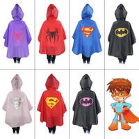 Wholesale 2016 Baby Kids Suprergirl Batgirl Spiderman Boys Girls Raincoat School Bicycle Rainwear Waterproof Superhero Rainsuit Y