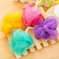 Wholesale 5Pcs Mesh Loofah Soft Durable Flower Bath Ball Colored Body Cleaning Sponge Random Color