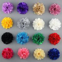 Compra Las cabezas de flor clips-El cordón de Tulle de la cabeza de flor de la gasa 50pcs / lot 1.9