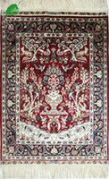 Wholesale YISI handmade silk rug red carpet tapestry x3ft x91cm at factory price free of shipping worldwide Handmade silk carpet handnotted rug