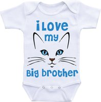 big brother clothing - Baby white Color Cotton Dress Boy Girl clothes Big Brother Cat Onesie Baby Bodysuit M Newborn baby sleepsuit Working onesie New Dad Mom