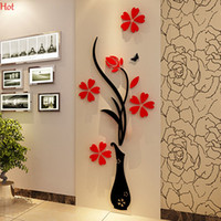 abstract stickers - Wall Stickers Acrylic D Plum Flower Vase Stickers Vinyl Art DIY Home Decor Wall Decal Red Floral Wall Sticker Colors YSB000031