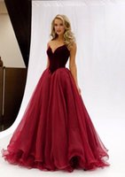 Wholesale 2017 Burgundy Prom Dresses Formal Evening Party Pageant Gowns With Ball Gown Sweet heart Corset Back Long Organza Velvet Cheap
