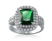 bezel set emerald - Luxury Jewelry Gorgeous Emerald Green Gemstone Jade White Gold GP Wedding Ring