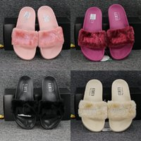 cheap slippers - 2017 factory outlet New Style Puma Leadcat Fenty Rihanna Shoes Men Women Slippers Indoor Sandals Girls Scuffs Cheap Fur Slides High Quality