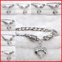 achat en gros de bracelets bracelet en argent-Crystal Heart Love Bracelets Plaqué Argent Maman Soeur Grand-maman Espoir Best Friend Membre de la famille bracelet bracelet femmes cadeau de Noël 160597