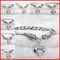 Charm Bracelets best friend christmas gifts - Crystal Heart Love Bracelets Silver Plated Mom Sister Grandma Hope Best Friend Family Member bracelet wristband women Christmas gift