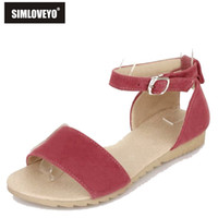 Wholesale New arrival Summer Sweets Women shoes Women sandal Flats Flock Buckle Solid Red Black Green Orange Plus size Hot sale
