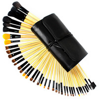 Wholesale 24 Pinnk Red Wood Professional Persian Hair Kit Makeup Brushes Set With Soft Bag Case Trim The And Eyes Look Beauty