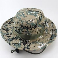 Wholesale Men Women Military Camouflage Bucket Hats Jungle Camo Fisherman Hat with Wide Brim Sun Fishing Bucket Hat Camping Hunting Cap DHL Free