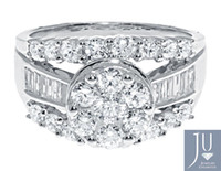 Couple Rings baguette engagement ring - 14K White Gold Ladies Cluster Round Baguette Diamond Engagement Wedding Ring ct
