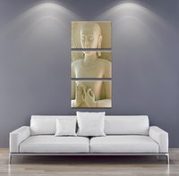 More Panel Digital printing Fashion 3 Panel Modern Buddha Painting Art White Marble Buddha Vertical Forms Canvas Print Decorative Figure Picture Modern Wall Art Paintings