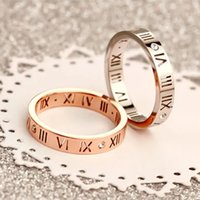 Wholesale Korean version of K rose gold Roman numeral diamond ring men and women couple tail ring ring jewelry