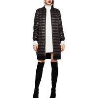 Wholesale Women solid thick long down coat winter warm long sleeve parkas zipper pockets outwear casaco streetwear tops CT1371