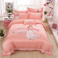 Wholesale Modern European pink princess cartoon girls jacquard embroidery Bedding sets For your bedroom to create a princess like dream word