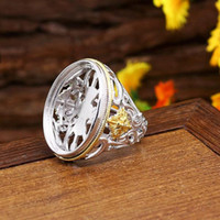 Wholesale 925 Silver Plated White Gold Yellow Gold x27mm Oval Cabochon Semi Mount Ring Antique Vintage Fine Silver Jewelry Setting