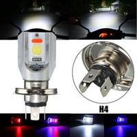 achat en gros de salut faisceau-100piece / lot H4 Moto COB LED phare Hi / Lo Ampoule avant ampoule 3 couleurs 6500K