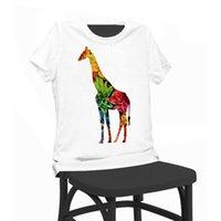 Giraffe Floral Print Beauté T-shirt Funny T-Shirts Chemise manches courtes Tops Vêtements T-shirt été féminin pour femme Lady Girl
