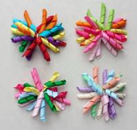 20pcs bébé filles 3inch arc-en-curleurs Corker fleurs arcs cheveux clip cheveux liens korker ruban cheveux bobbles élastique corde PD007