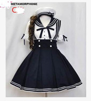 Wholesale Customized Dark Blue Princess Japanese Lolita School Uniform Cosplay Sailor Lolita Dress