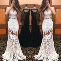 Wholesale Mermaid See Through Lace Dresses For Prom Sexy Sheer Special Occasion Party Dress White Formal Women Evening Gowns