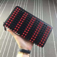 Wallets bag patchwork pattern - Hot Wallet Quality Litchi Pattern Leather Women Wallets Designer Rivets Spikes Purse Panettone Studded Clutch Bolsa Feminina Bag