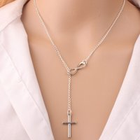 Bijoux croix France-NOUVEAU Fashion Infinity Cross Pendentif Colliers Wedding Party Event 925 Silver Plated Chain Elegant Jewelry For Women Ladies