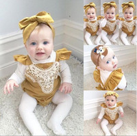 Wholesale Infant baby girl lace rompers newborn toddlers lace splice one piece jumpsuit baby soft cotton bodysuit